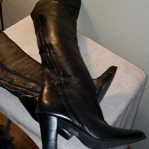 Calalilly *TRULY OVER THE KNEE** blk Lthr boots